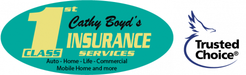 1st Class Insurance Services d.b.a. Cathy Boyd's Insurance Logo with Trusted Choice Logo next to it